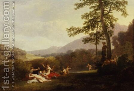 Nymphs And Fauns In A Landscape With A Statue Of Pan by Jacques-Antoine Vallin - Reproduction Oil Painting