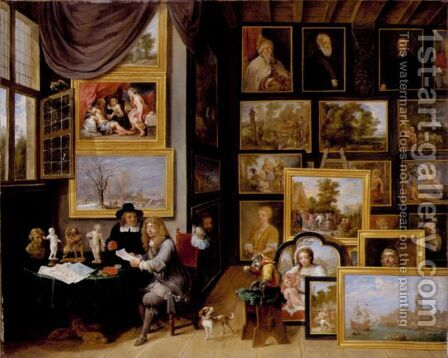 A Picture Gallery With Two Men Examining A Seal And A Red Chalk Drawing And A Monkey Present by David The Younger Teniers - Reproduction Oil Painting