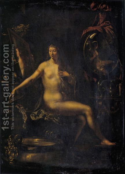 Venus At Her Toilet by (after) Angelo Caroselli - Reproduction Oil Painting