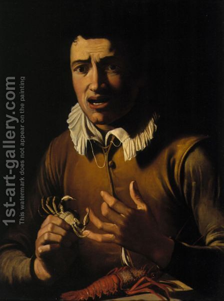 A Boy Bitten By A Crab (An Allegory Of The Sense Of Touch) by (after) Michelangelo Merisi Da Caravaggio - Reproduction Oil Painting