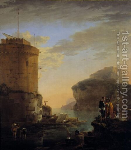 A Mediterranean Coastal View With Shipping And Mariners By A Fort by Jan Asselijn - Reproduction Oil Painting