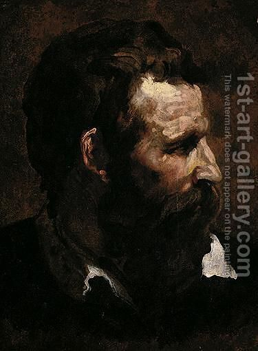 Head Of A Bearded Man In Profile by Domenico Beccafumi - Reproduction Oil Painting
