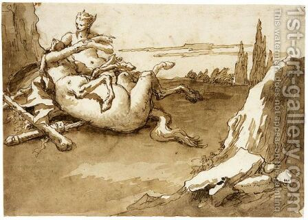 A Centaur And A Female Faun In A Landscape by Giovanni Domenico Tiepolo - Reproduction Oil Painting