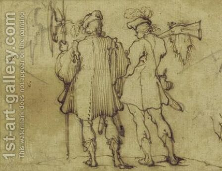 Two Soldiers Seen From Behind by Agostino Tassi - Reproduction Oil Painting