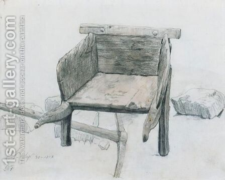 Study Of A Wheelbarrow by Cornelius Varley - Reproduction Oil Painting