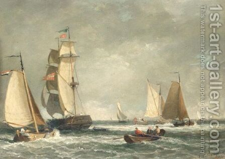 A busy channel by (after) Edmund Thornton Crawford - Reproduction Oil Painting