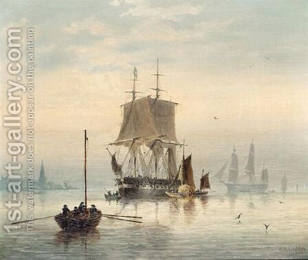 Estuary Scene With Man-O'-War At Anchor And Hay Barge by Capt. Charles A. Lodder - Reproduction Oil Painting