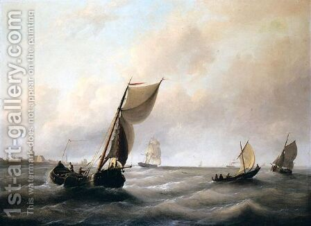 Shipping of the coast by Christian Cornelis Kannemans - Reproduction Oil Painting