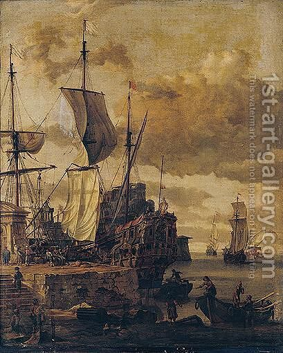 A mediterranean harbour scene 2 by Abraham Storck - Reproduction Oil Painting