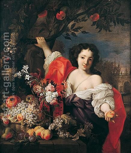 Still life of fruit and flowers with a young maidservant by Abraham Brueghel - Reproduction Oil Painting