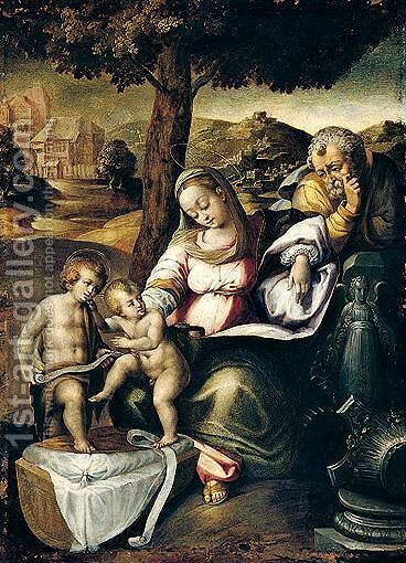Holy family with the infant Saint John the baptist by (after) Raphael (Raffaello Sanzio of Urbino) - Reproduction Oil Painting