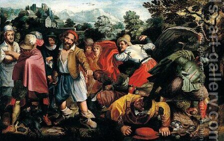 Peasant brawling in landcsaEASANTS BRAWLING IN A LANDSCAPE by (after) Vincenzo Campi - Reproduction Oil Painting