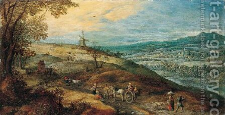 Landscape with peasant resting beside a road by (after) Jan The Elder Brueghel - Reproduction Oil Painting