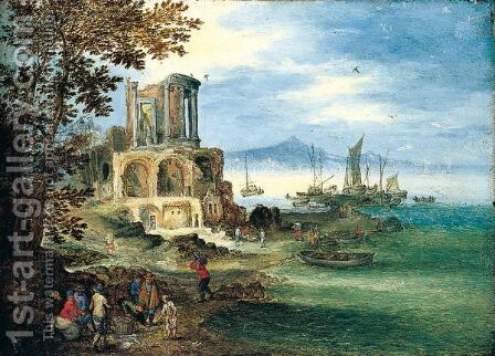 A coastal landsaCOASTAL LANDSCAPE WITH THE TEMPLE OF VESTA by (after) Jan The Elder Brueghel - Reproduction Oil Painting