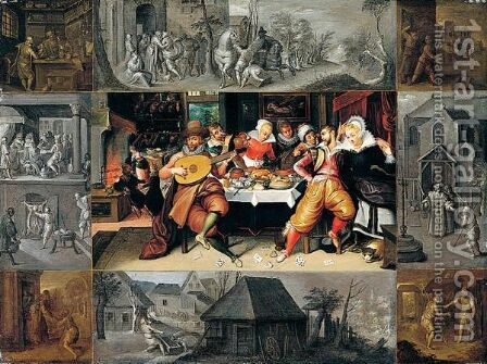 The Corner Scenes En Brunaille by (after) Frans II Francken - Reproduction Oil Painting