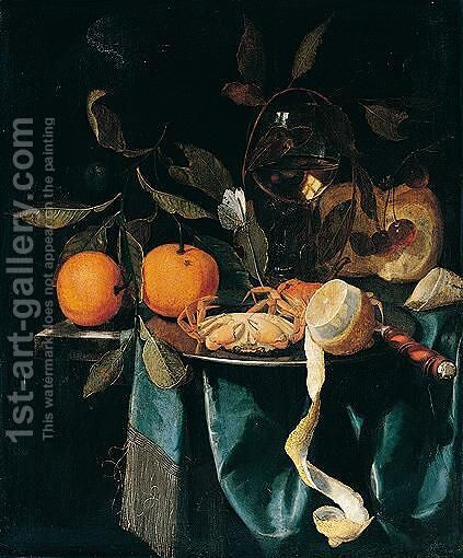 A still life of oranges, wine glass, cherries, bread and tobacco by Harmen Loeding - Reproduction Oil Painting