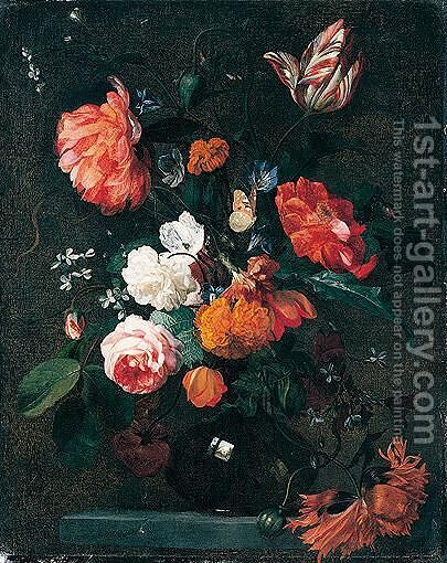 Still life of tulips, poppies, roses by (after) Simon Pietersz. Verelst - Reproduction Oil Painting