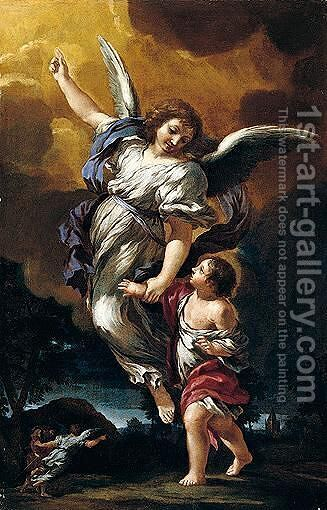 The guardin Angel by (after) Cortona, Pietro da (Berrettini) - Reproduction Oil Painting