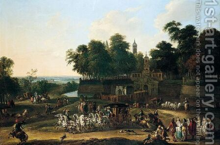 A landscape with noblemen in their carriages by (after) Adam Frans Van Der Meulen - Reproduction Oil Painting