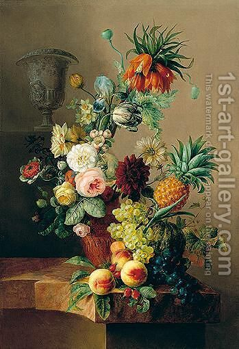 Still life of varous flowers in terracotta vase by (after) Jan Van Os - Reproduction Oil Painting