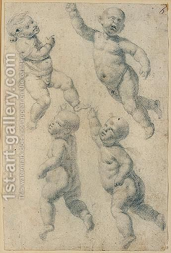 Studies of four putti by Italo-Flemish School - Reproduction Oil Painting