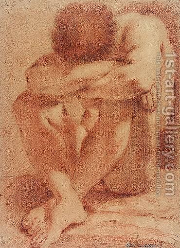 Male nude seated by Domenico Maria Canuti - Reproduction Oil Painting