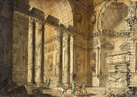 Capriccio view of a temple interior with figures by (after) Charles-Louis Clerisseau - Reproduction Oil Painting
