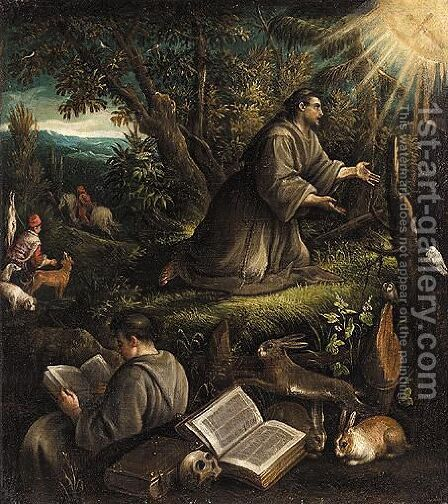 Saint Francis Recieving The Stigmata by (after) Leandro Bassano - Reproduction Oil Painting