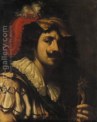 A Portrait Of A Cavalier, Head And Shoulders, Holding A Set Of Spurs by (after) Ludovicus Finsonius (see FINSON, Louis) - Reproduction Oil Painting