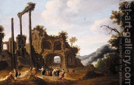 Classical Landscape With Figures Before Ruins by (after) Dirck Verhaert - Reproduction Oil Painting