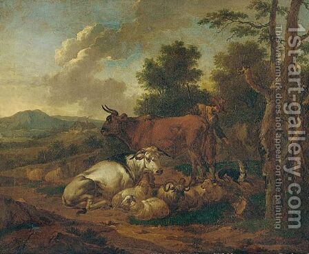 A Landscape With A Herder And His Dog Tending To His Animals by (after) Josef The Elder Roos - Reproduction Oil Painting