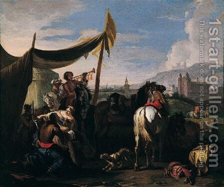 An Army Encampment With A Town Beyond by (after) Pieter Van Bloemen - Reproduction Oil Painting