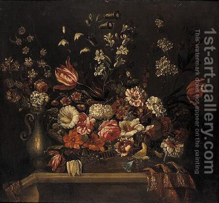 A Still Life Of Flowers In A Basket And A Vase On A Ledge by (after) Pieter Hardime - Reproduction Oil Painting
