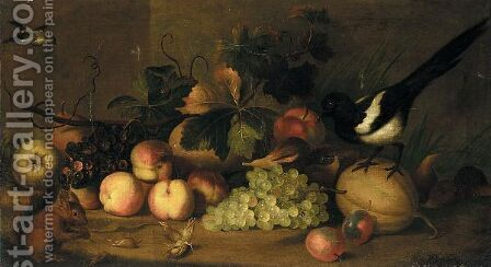 Still Life Of Fruit With A Magpie And A Red Squirrel In A Landscape Setting by (after) Jakob Bogdany - Reproduction Oil Painting