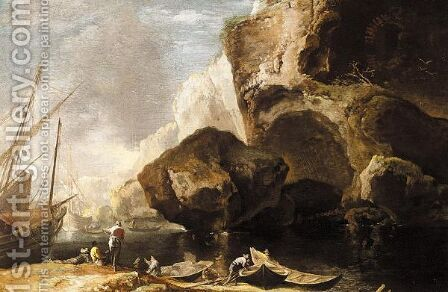Coastal Landscape With Fishermen With Their Boats, Cliffs Beyond by (after) Antonio Travi (Il Sestri) - Reproduction Oil Painting
