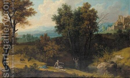 A Classical Wooded Landscape With Bathers by (after) Giovanni Battista Busiri - Reproduction Oil Painting