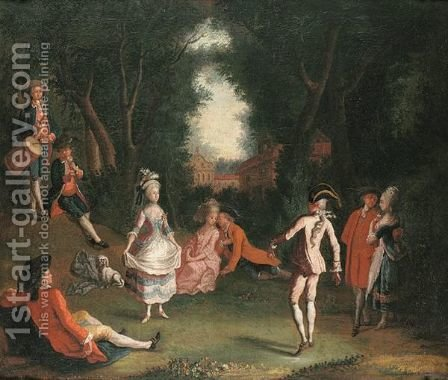 A Fete Galante With Elegant Figures In A Woodland Setting by (after) Jose Camaron Y Boronat - Reproduction Oil Painting