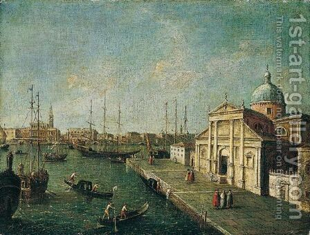 Venice, A View Of San Giorgio Maggiore With The Bacino Beyond And The Riva Degli Schiavoni In The Distance, Looking North by (after) Michele Marieschi - Reproduction Oil Painting