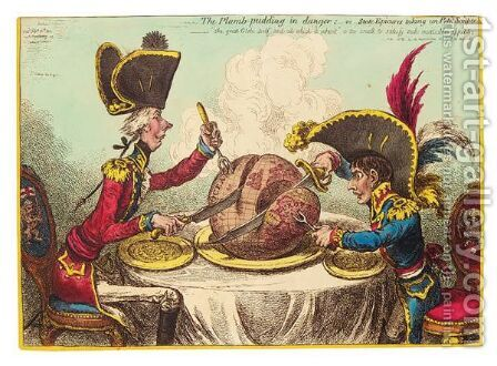 'The Plumb-Pudding In Danger - Or State Epicures Taking Un Petit Souper' by James Gillray - Reproduction Oil Painting