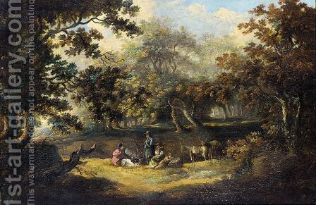 A Gipsy Family In A Wooded Landscape by (after) George Morland - Reproduction Oil Painting