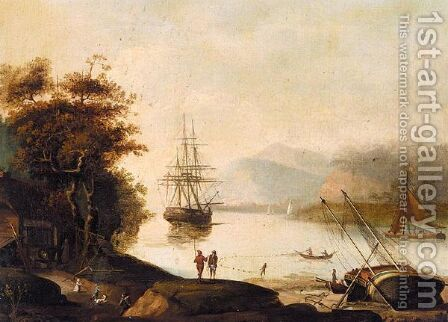Estuary Scene With Fisherman And A Man-O-War At Anchor by (after) Jenkinson, John - Reproduction Oil Painting