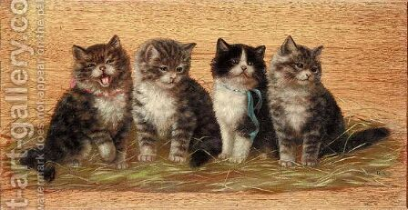 Four Kittens by Bessie Bamber - Reproduction Oil Painting