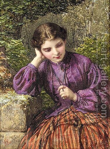 In Thought by Henry Le Jeune - Reproduction Oil Painting