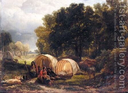 The Gypsy Encampment by Henry Brittan Willis, R.W.S. - Reproduction Oil Painting