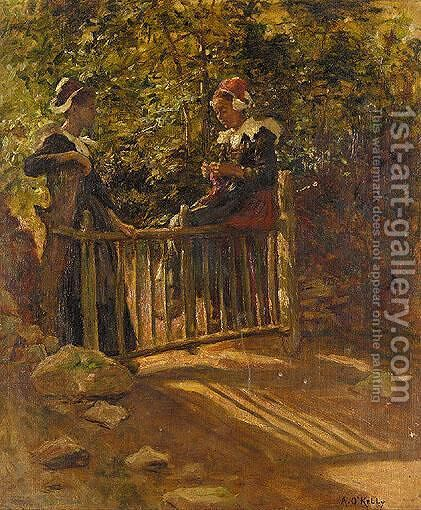 Two Breton Women by Aloysius O'kelly - Reproduction Oil Painting