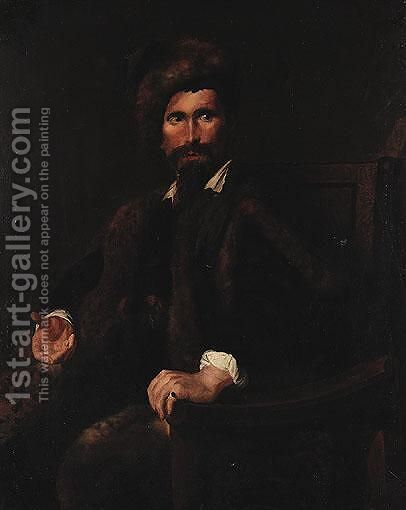 Portrait Of A Gentleman by Continental School - Reproduction Oil Painting