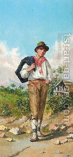 Boy In A Rural Landscape by Italian School - Reproduction Oil Painting