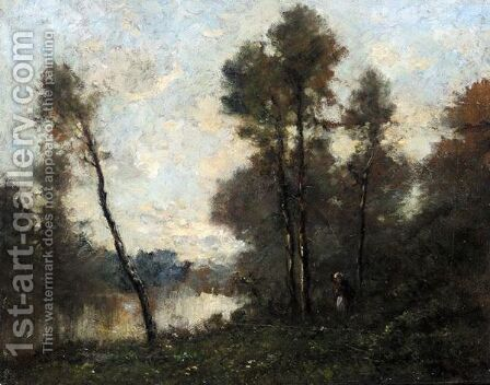 Figure In A Wooded Landscape By A River by Barbizon School - Reproduction Oil Painting
