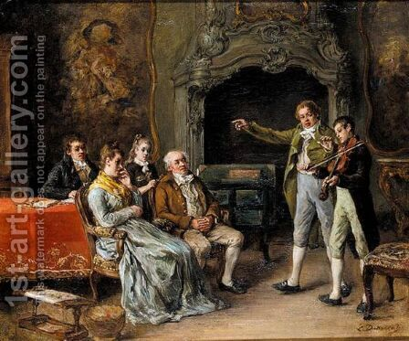 The Recital by (after) Leon Marie Dansaert - Reproduction Oil Painting