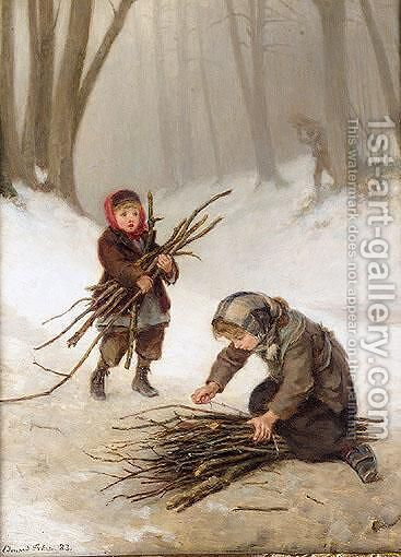 Gathering Faggots by Edouard Frère - Reproduction Oil Painting